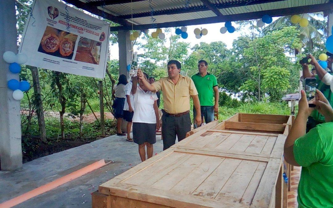 Centro Marìa Elena Moyano, instala Unidad de fermentación de Cacao, de la Asociaciòn de Mujeres emprendedoras Misky Cacao en el distrito de Chazuta- San Martìn